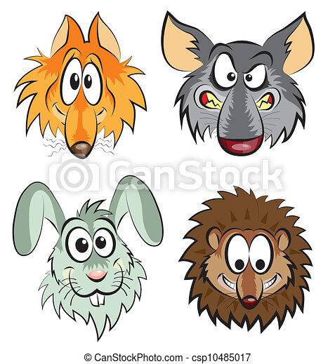 fox, wolf, hare, hedgehog - csp10485017