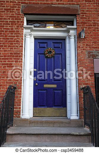 foyer bleu, entrée, porte, vieux - csp3459488