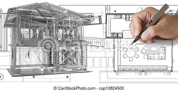 foyer bleu, modèle, impression - csp10824500