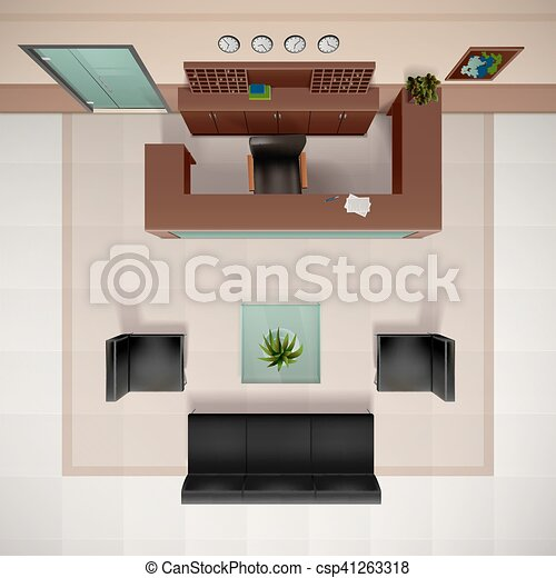 Foyer Interior Illustration Foyer Interior Top View Realistic