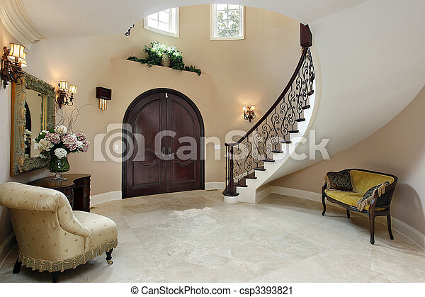 Foyer with curved staircase - csp3393821