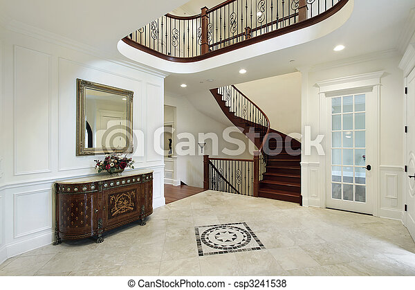 Luxury Home Foyer : Foyer with floor design in luxury home