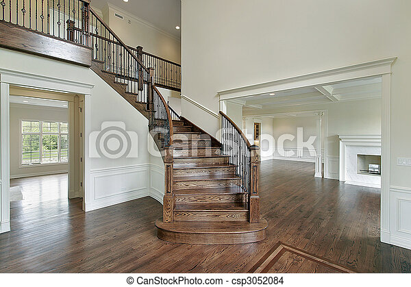 Foyer With Wooden Staircase Foyer In New Construction