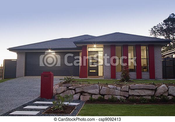 främre del, hus, förorts- - csp9092413