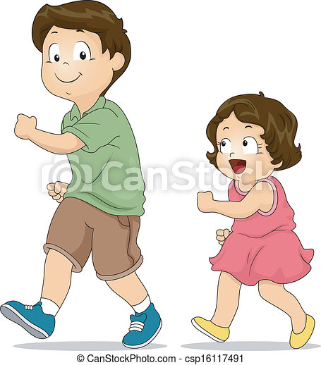 Dessin Frere Et Soeur frère soeur, imitation. peu, copier, elle, frère, illustration, aîné