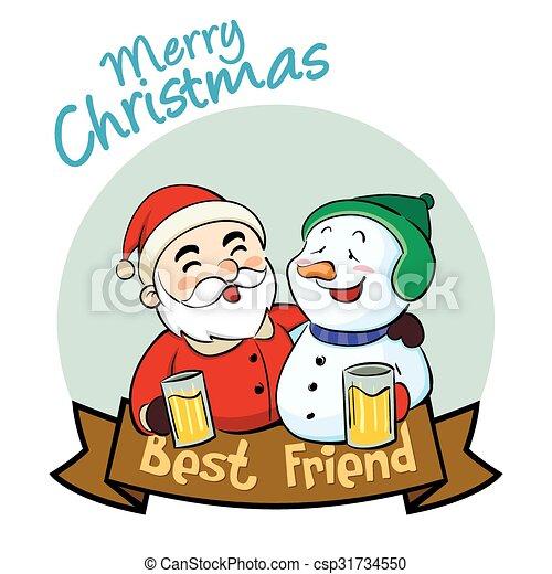 Fröhlich, freund, am besten, weihnachten. Schneemann, claus, vektor ...
