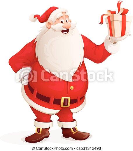 Frohe Weihnachtsmann mit Weihnachtsgeschenk in der Hand - csp31312498