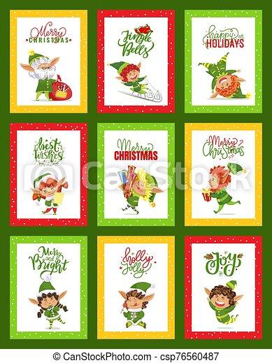 fröhlich, sammlung, klimpern glocken, karten, weihnachten - csp76560487