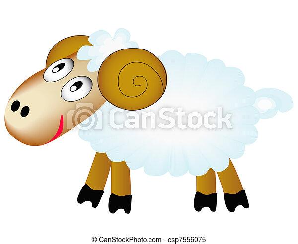 Frohes Schaf isoliert - csp7556075