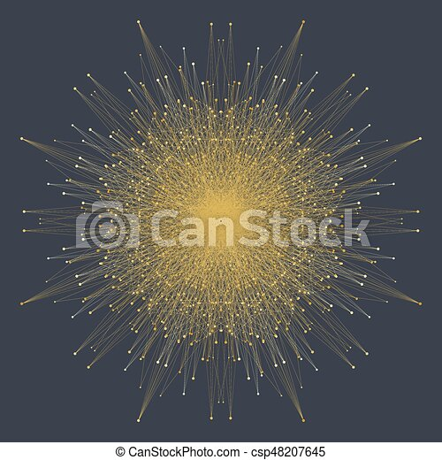 Fractal element with connected lines and dots. Big data complex. Particle compounds. Network connection, lines plexus. Minimalistic chaotic design, vector illustration. - csp48207645