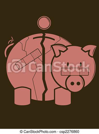 Fractured Piggy Bank - csp2276860