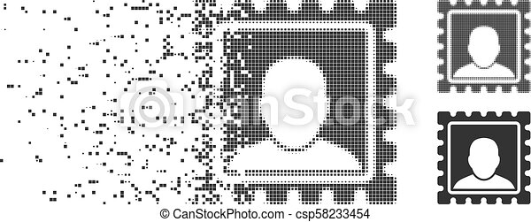 Fractured Pixel Halftone Postal Mark Icon - csp58233454