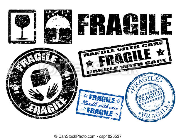 Fragile signs and stamps - csp4826537