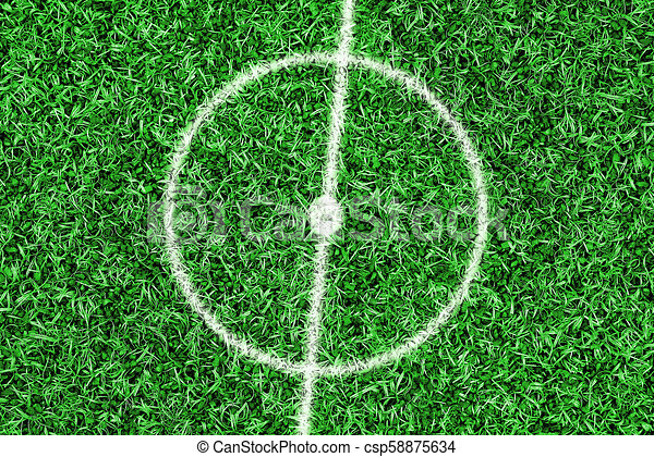 Fragment of a football field with a central circle - csp58875634