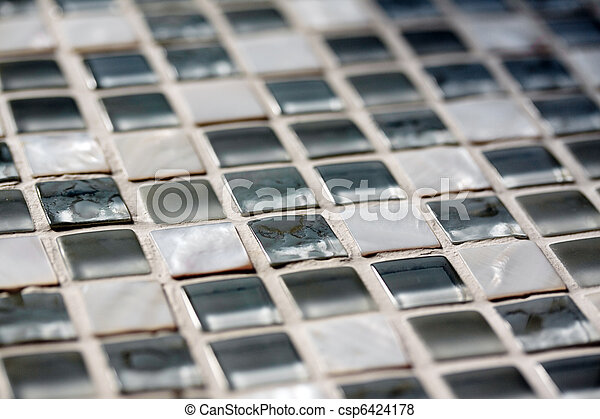 Fragment of a window sill with mosaic pearl tiles with shallow depth of focus - csp6424178