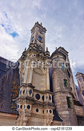 Fragment of Chateau de Chambord palace Loire valley France - csp42181239