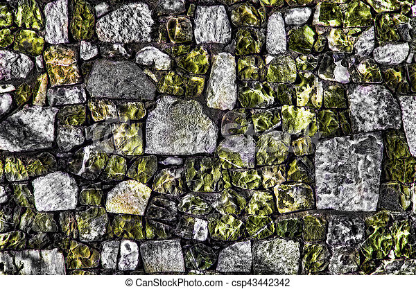 Fragment of old brick wall with river stones texture white grey brown black green blue lime yellow orange maroon violet pink turquoise colored background, different type of stones mosaic surface - csp43442342
