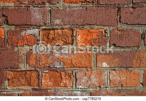 fragment of red old brick textured wall - csp7785219