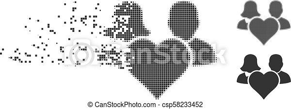 Fragmented Pixel Halftone Family Love Heart Icon - csp58233452