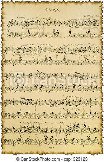 Fragmento, hoja de música. Notas, fragmento, música, plano de fondo ...