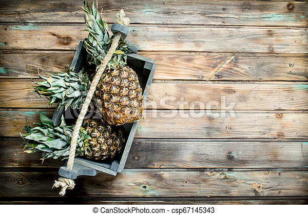 Fragrant pineapples in the box. - csp67145343