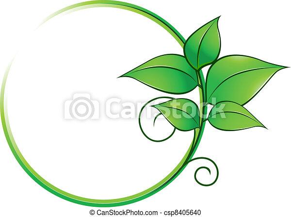 frais, cadre, feuilles vertes - csp8405640