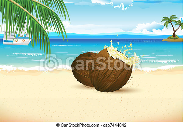 frais, noix coco, plage, mer - csp7444042