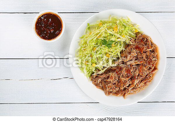 frais, tiré, viande, salade chou, juteux - csp47928164