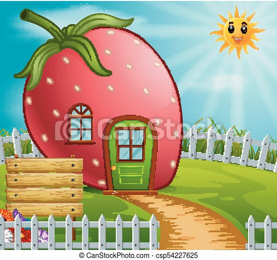 Fraise Jardin Maison Maison Jardin Illustration Fraise