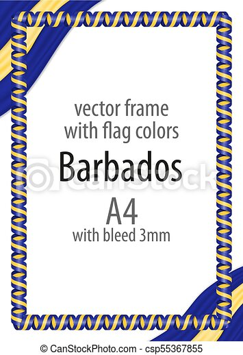 Frame and border of ribbon with the colors of the Barbados flag - csp55367855