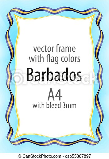 Frame and border of ribbon with the colors of the Barbados flag - csp55367897