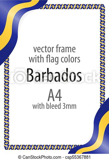 Frame and border of ribbon with the colors of the Barbados flag - csp55367881
