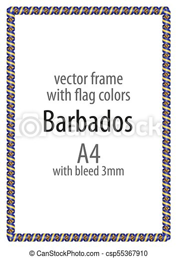 Frame and border of ribbon with the colors of the Barbados flag - csp55367910