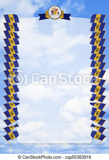 Frame and Border with flag and coat of arms Barbados. 3d illustration - csp55363916