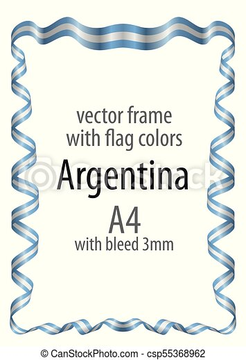 Frame and border with the coat of arms and ribbon with the colors of the Argentina flag - csp55368962