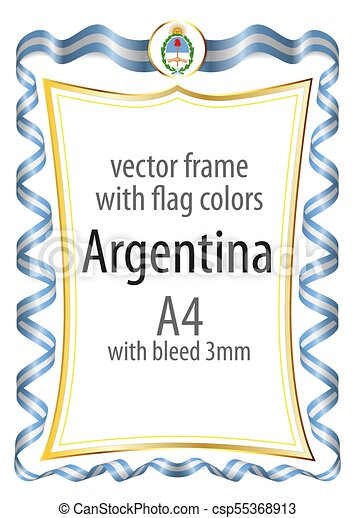 Frame and border with the coat of arms and ribbon with the colors of the Argentina flag - csp55368913