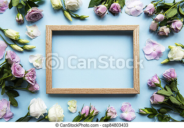 Frame and pink flowers - csp84803433