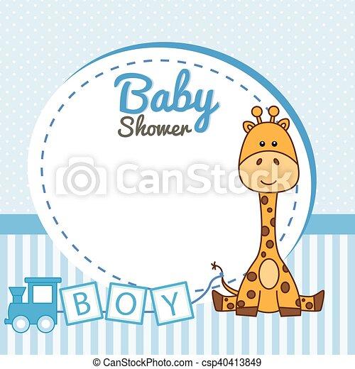 Baby shower boy. frame baby giraffe.