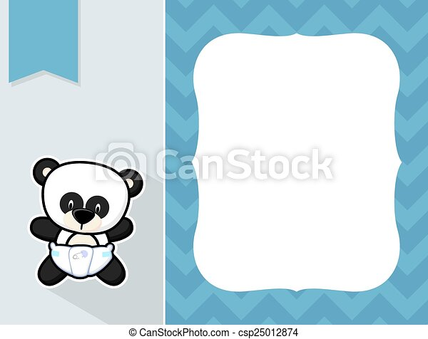 Frame Baby Panda Cute Little Baby Panda With Diaper Black And