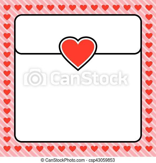 Frame border red heart, design for valentine, love letter, wedding ...
