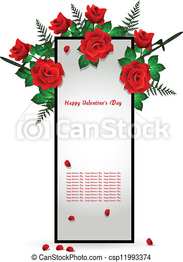 frame decoration with red rose - csp11993374
