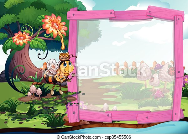Frame design with bee and river - csp35455506