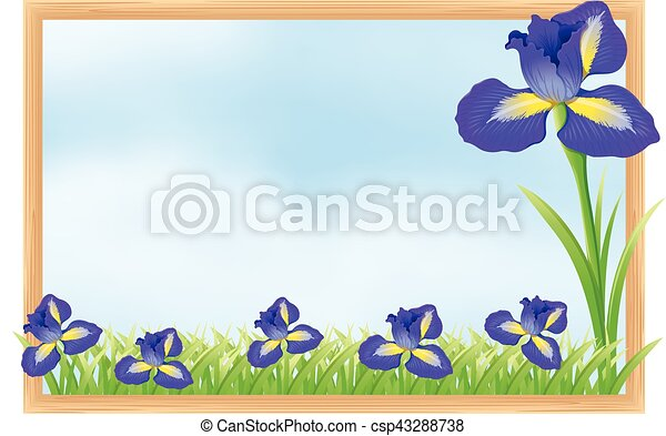 Frame design with blue flowers - csp43288738