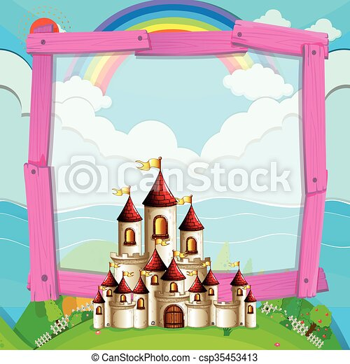 Frame design with castle in the field - csp35453413