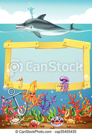 Frame design with dolphin underwater illustration vectors - Search ...
