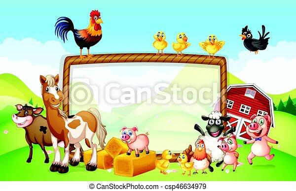 Frame design with farm animals - csp46634979