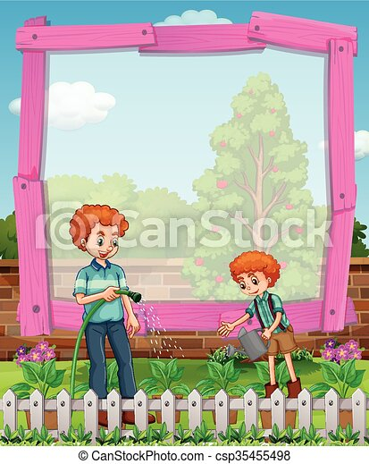 Frame design with father and son in the garden - csp35455498