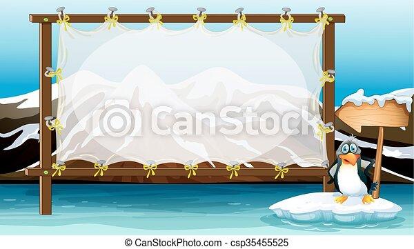 Frame design with penguin on iceberg - csp35455525