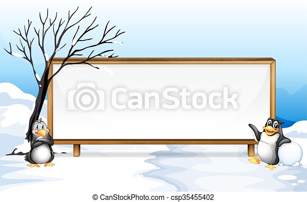 Frame design with penguin on snow - csp35455402