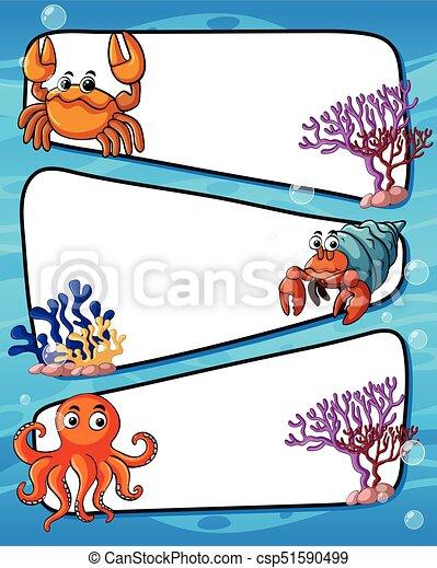 frame design with sea animals illustration rh canstockphoto com sea animals clipart sea animal clipart